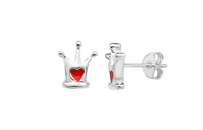 Sterling Silver Red Heart Crown Earrings SE158B