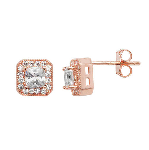 Rose Gold Plated Sterling Silver Cubic Zirconia Square Earrings SE168B