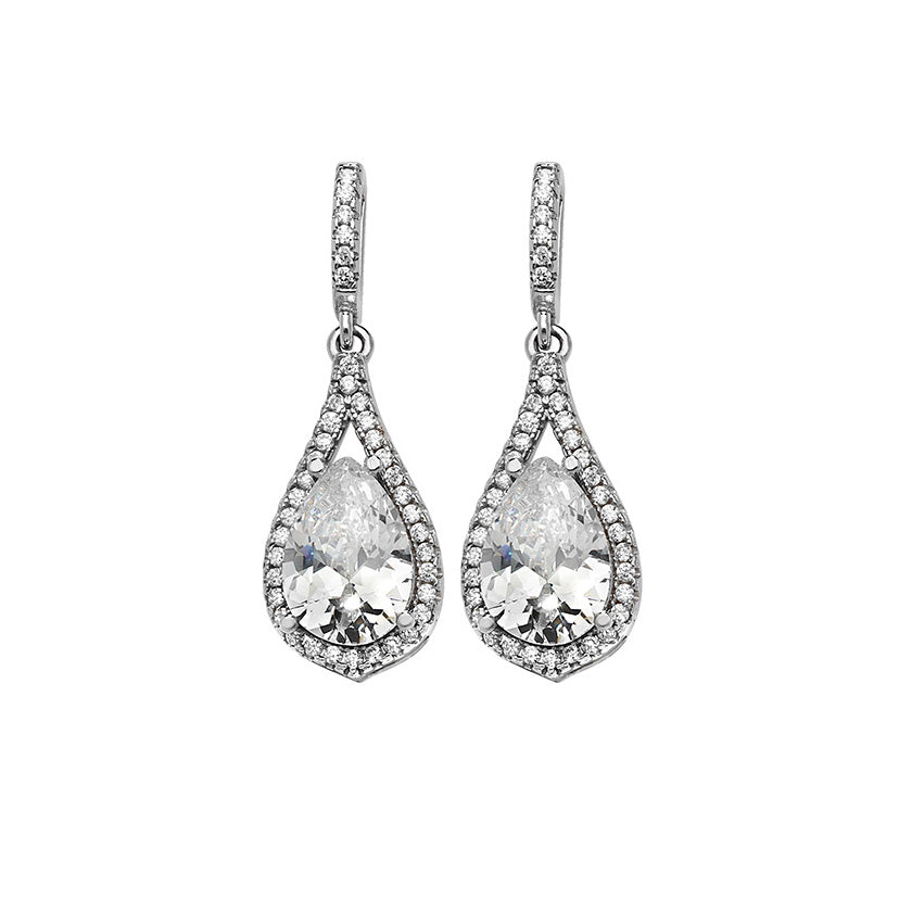 Sterling Silver Cubic Zirconia Drop Earrings SE182D