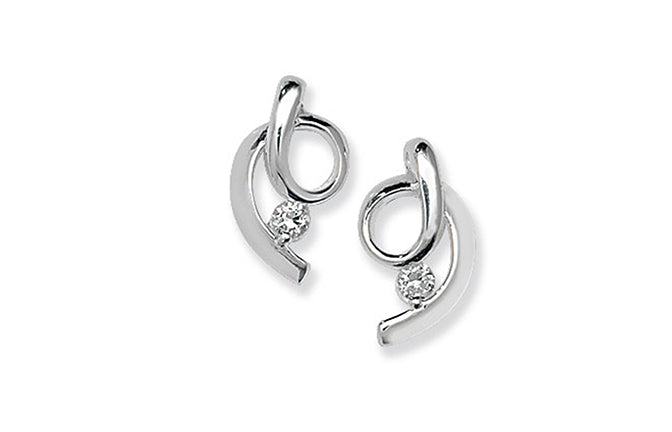 Sterling Silver Fancy Cubic Zirconia Ear Studs SE219B