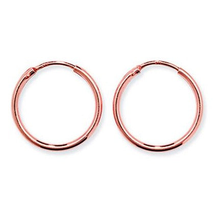 Rose Gold Plated Sterling Silver 25mm Hoop Earrings SE240A