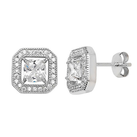 Sterling Silver Rhodium Plated White Cubic Zirconia Square Earrings SE243A