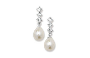 Sterling Silver Cubic Zirconia and Simulated Pearl Drop Earrings SE257B