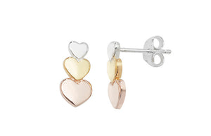 Sterling Silver Three Tone Heart Earrings SE260A