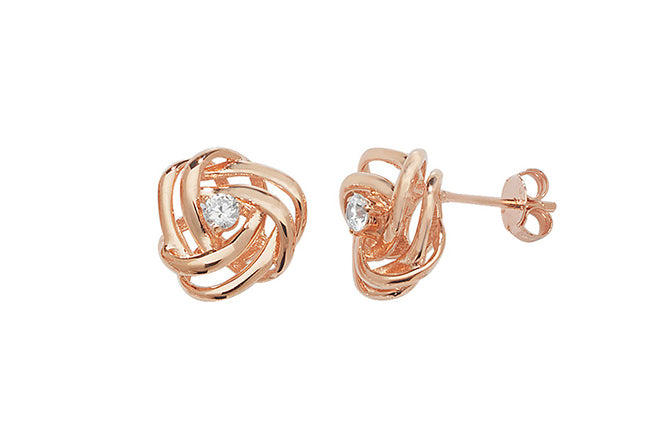 Rose Gold Plated Sterling Silver Cubic Zirconia Earrings SE268B