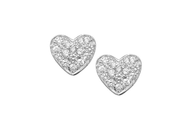 Sterling Silver Cubic Zirconia Heart Shape Earrings SE272B