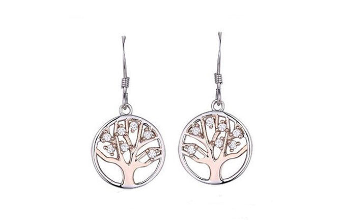 Rose Gold Plated Sterling Silver Drop Cubic Zirconia Tree of Life Earrings SE307C