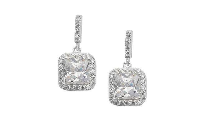 Sterling Silver Cubic Zirconia Drop Earrings SE314C