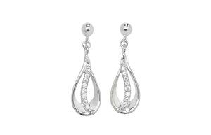 Sterling Silver Teardrop Earring with Cubic Zirconias SE354A