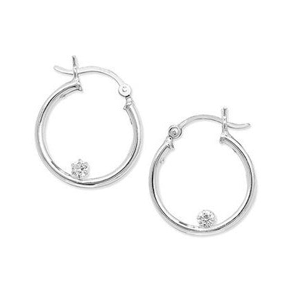 Sterling Silver Cubic Zirconia 20mm Hoop Earrings SE370B