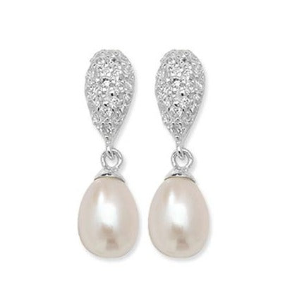 Sterling Silver Cubic Zirconia Drop Cultured Pearl Earrings SE387B