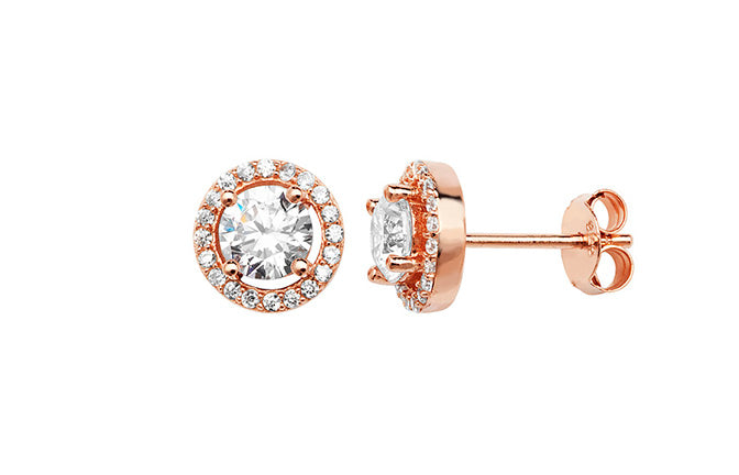 Rose Gold Plated Sterling Silver Cubic Zirconia Halo Stud Earrings SE400B
