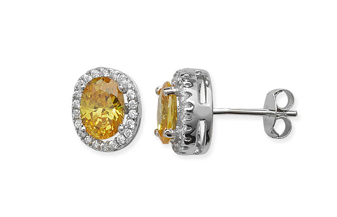 Sterling Silver Ear Studs set with Yellow Stones SE414B