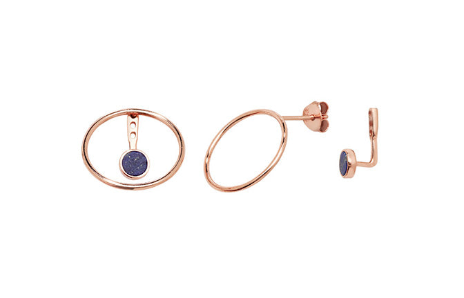 Rose Gold Plated Sterling Silver Open Circle Blue Cubic Zirconia Jacket Earrings SE479C