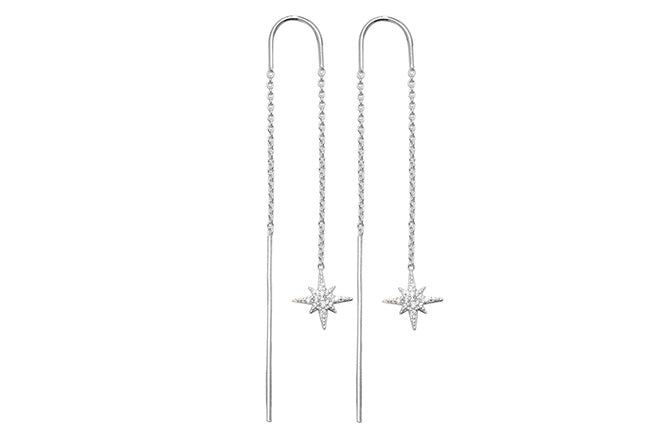 Sterling Silver Star Cubic Zirconia Thread Earrings SE485B
