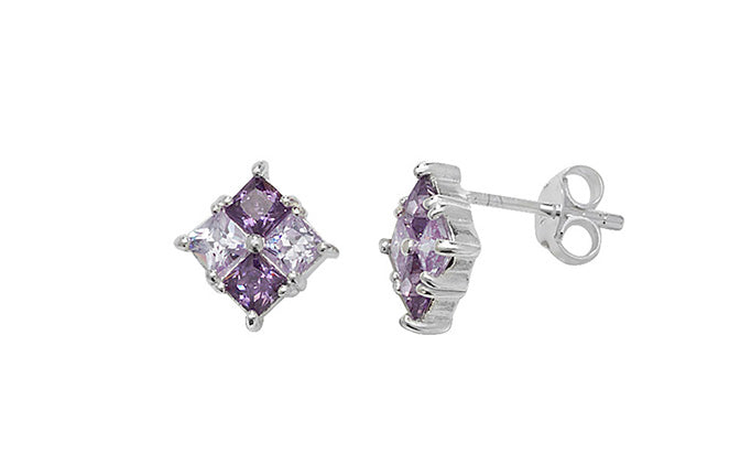 Sterling Silver Ear Studs set with Purple Stones SE515C