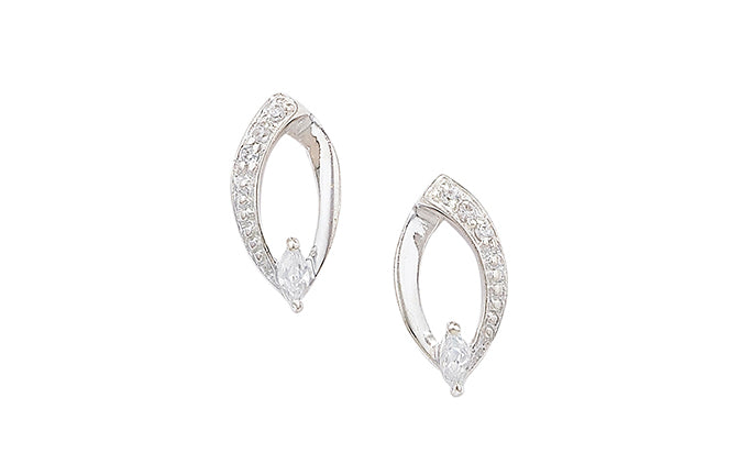 Sterling Silver Cubic Zirconia Stud Earrings SE591A