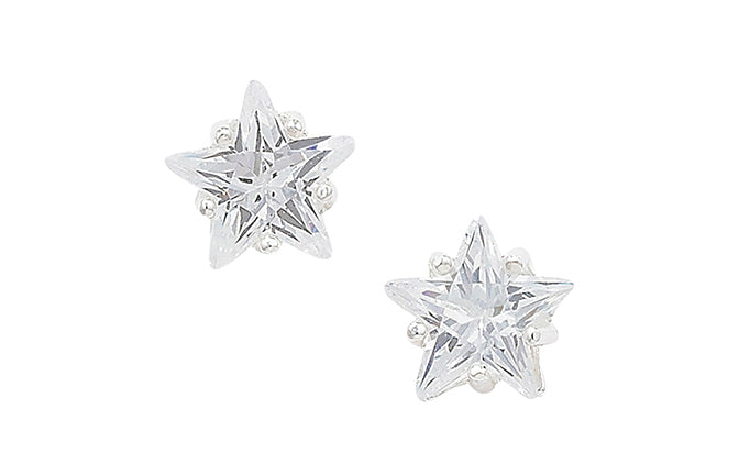 Sterling Silver Star Shaped Cubic Zirconia set Earrings SE604A