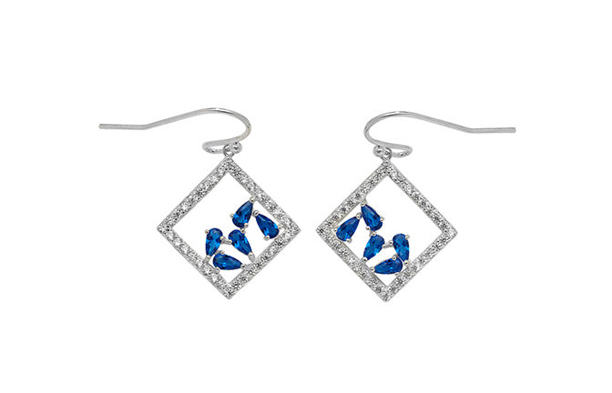 Sterling Silver Fancy Drop Earrings set with Blue Cubic Zirconias SE623C