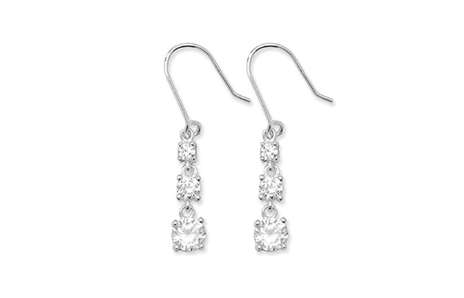 Sterling Silver Fancy Drop Earrings set with Cubic Zirconias SE645A