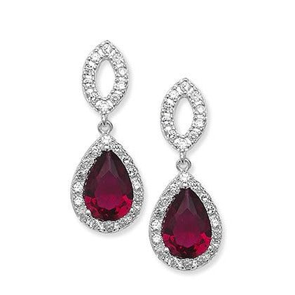 Sterling Silver Fancy Drop Earrings set with Red Cubic Zirconias SE679A
