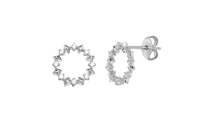 Sterling Silver Rhodium Plated Cubic Zirconia Earrings SE687B