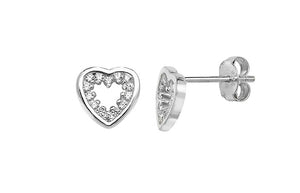 Sterling Silver Cubic Zirconia Heart Earrings SE719A