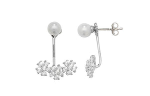 Sterling Silver Pearl & Cubic Zirconia 'Ear Jacket' Earrings SE735A