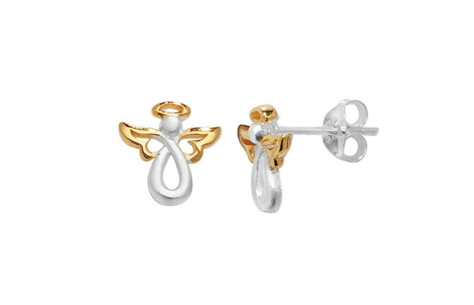 Sterling Silver Two Tone Angel Earrings SE750A