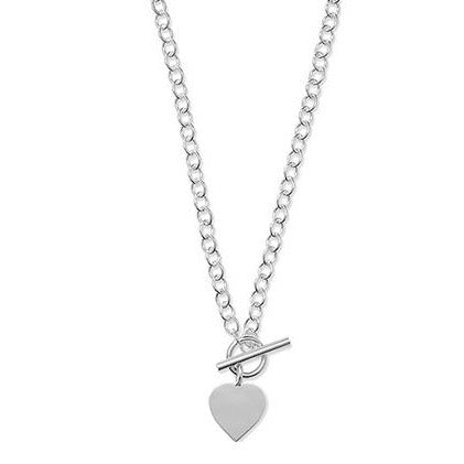Sterling Silver T-Bar Necklace with Heart Charm SN014B
