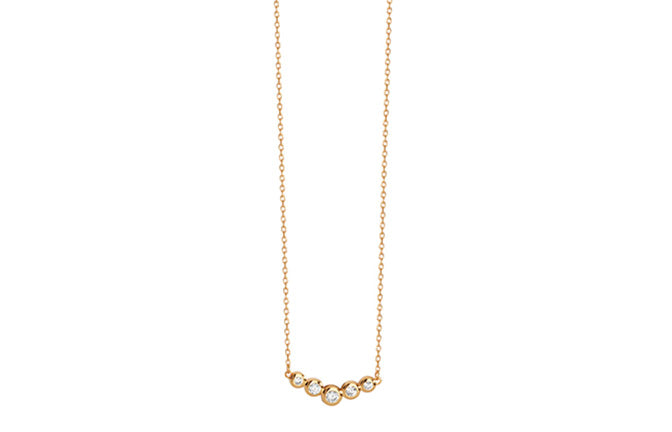 Sterling Silver Gold Plated Cubic Zirconia Necklace 14-18 inches SN017B