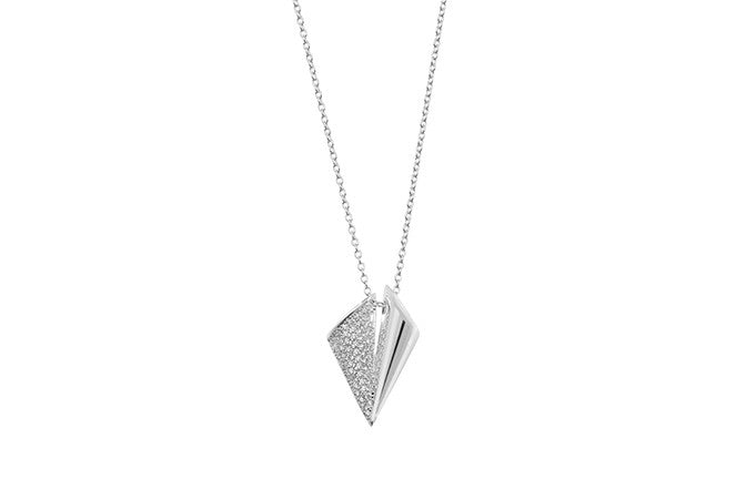 Sterling Silver & Cubic Zirconia Half Triangle Necklace (SN072c)
