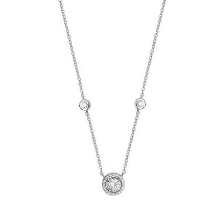Sterling Silver Cubic Zirconia Necklace 16 inches SN108B
