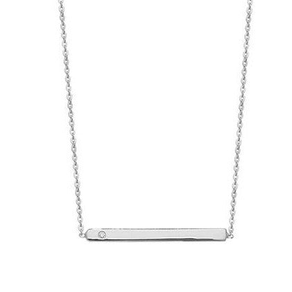 Sterling Silver Bar Necklace with Cubic Zirconia SN125B SN132B