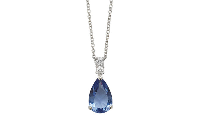 Sterling Silver Cubic Zirconia Light Blue Stone Drop Necklace 16 inches SN134A