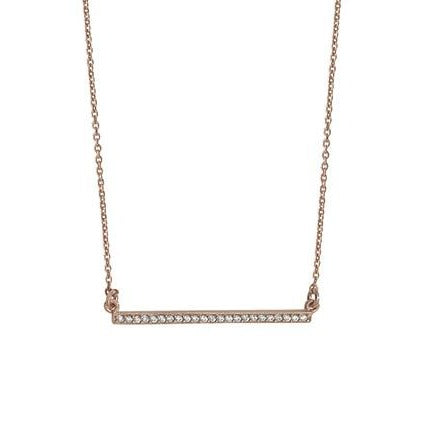 Rose Gold Plated Sterling Silver Cubic Zirconia Bar Necklace SN135B