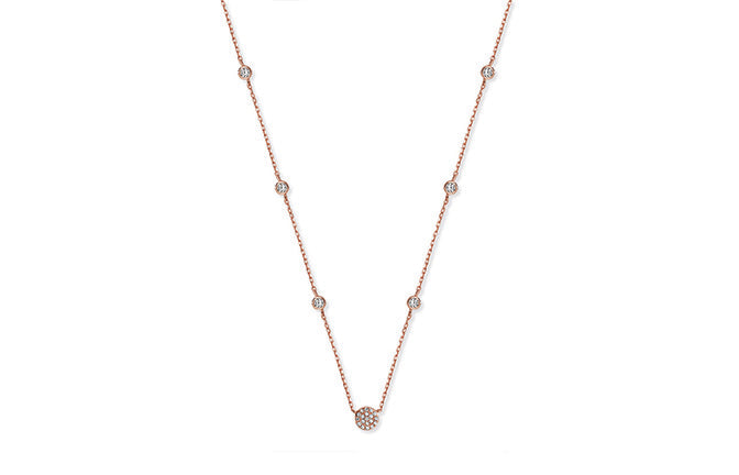 Rose Gold Plated Sterling Silver Cubic Zirconia Necklace SN136B