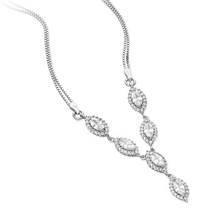 Sterling Silver Cubic Zirconia Fancy Necklace SN139B