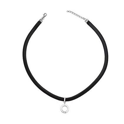 Sterling Silver Leather Choker with Circle Pendant SN146B