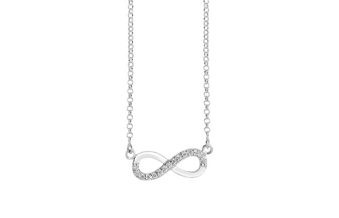 Sterling Silver Cubic Zirconia Infinity Necklace SN257A