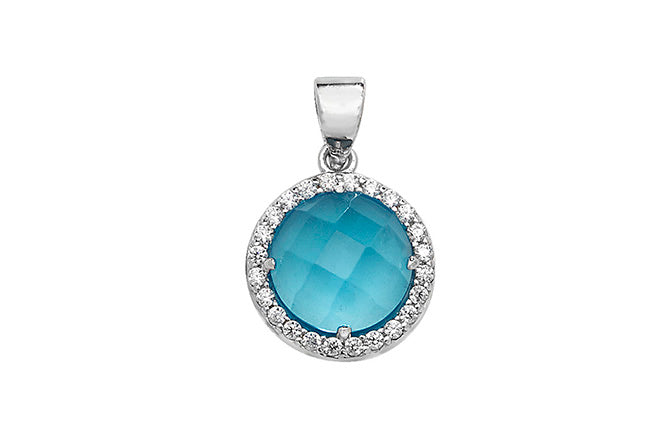 Sterling Silver Blue Cubic Zirconia Pendant SP028B