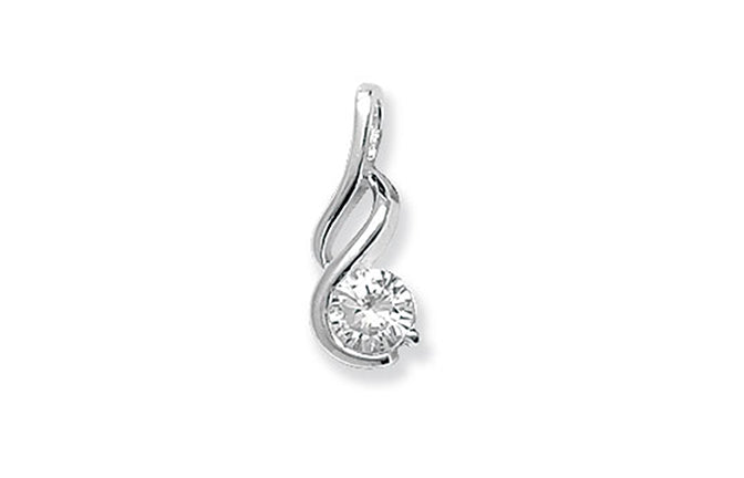 Sterling Silver Fancy Cubic Zirconia Pendant SP108C