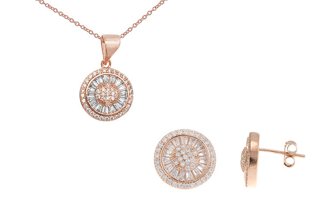 Sterling Silver Rose Gold Plated Cubic Zirconia Pendant SP117A