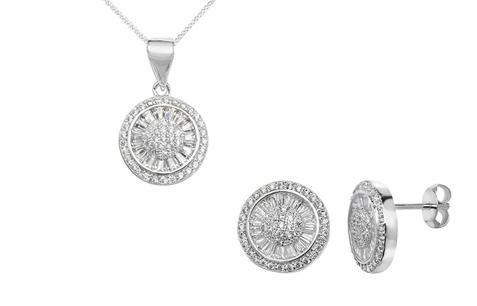 Sterling Silver Round Cubic Zirconia Pendant SP169B