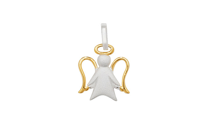 Sterling Silver Two Tone Angel Pendant SP206B