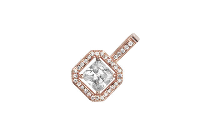 Rose Gold Plated Sterling Silver Cubic Zirconia Square Drop Pendant SP220C