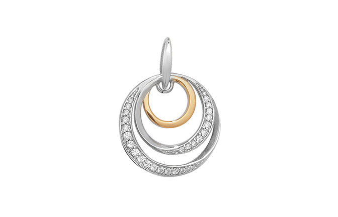 Sterling Silver and Gold Plated Fancy Pendant SP241A