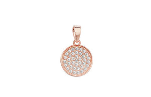 Rose Gold Plated Sterling Silver Cubic Zirconia Pave Style Pendant SP333C