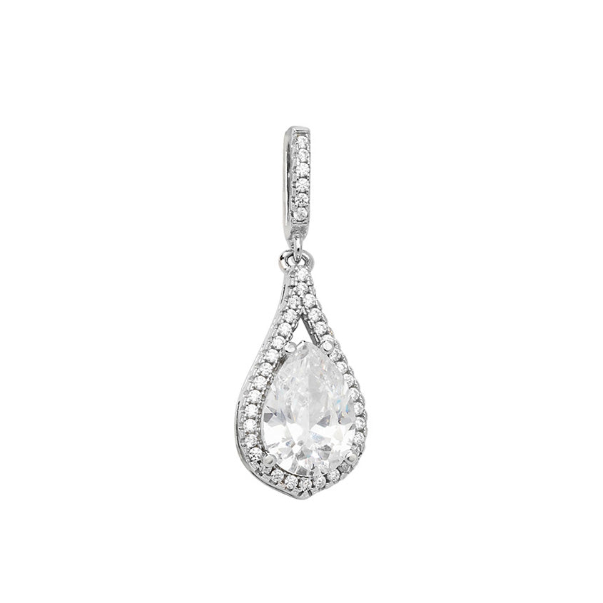 Sterling Silver Rhodium Plated Pear Cut Cubic Zirconia Pendant SP351A