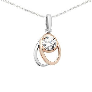 Sterling Silver Two Tone Cubic Zirconia Pendant SP517A